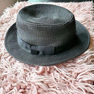 Talula Black Straw Hat Ribbon Bow Trim